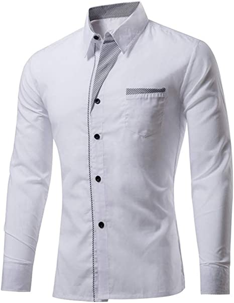 YAYLMKNA Camisa Camisa A Rayas para Hombre Camisa De Manga Larga con Cuello Redondo para Hombres Camisa Slim Fit Antiarrugas, XL: Amazon.es: Deportes y aire libre