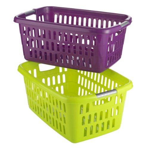Axentia Wäschekorb, robuster Wäschesammler mit Tragegriffen, leicht zu reinigen, für Haushalt und Garten, Aufbewahrungskorb farblich sortiert, Maße: 61 x 41 x 25 cm