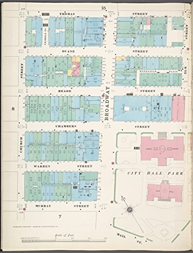 Map Poster - Manhattan, V. 1, Plate No. 9 west half [Map bounded by Thomas St., Pearl St., Elm St., Mall St., Murray St., Church St.] 11