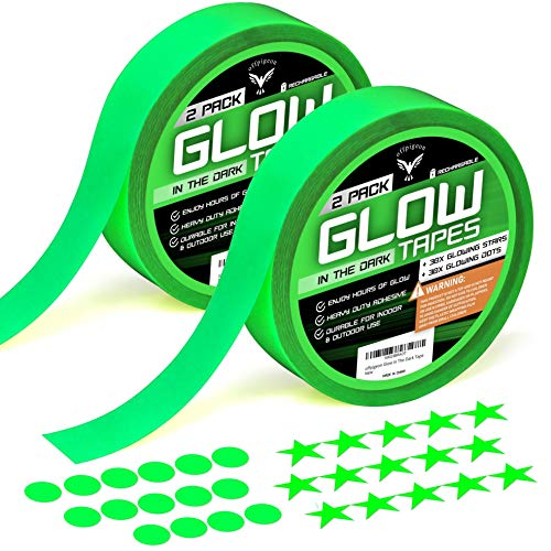 Glow in The Dark Tape, Ultra Luminous Tape, Premium Pack 2 Rolls of UV Glow Tape, 30 Fluorescent Stars, 30 Dots Stickers, Home Decor Wall Ceiling, Stairs, Stage, Party Halloween Decorations (Tape Dark The 2 Glow In)