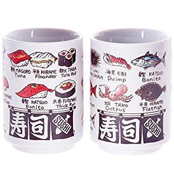Japanese tea cup, Sushi-yunomi, ceramic, printed sushi and fish names and by English and Kanji, set of - Sushi And Tea