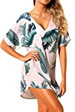 Shawhuwa Womens Printed V Neck Loose Short Dress Knot Beach Cover up M Palm Leaves
