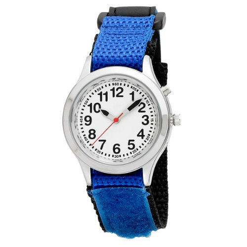 Price comparison product image Kids Velcro Talking Alarm Watch: Blue Strap - Choice of Voice