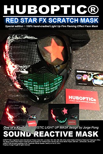 Red Star Stage Gigs Shows Light Up Costume Helmet Party Cosplay Cyborg Robot Head Steampunk Costume (Flame Dancer Costume)