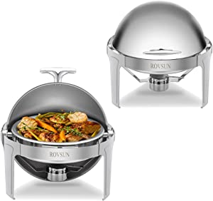 ROVSUN 2-Pack Roll Top Chafing Dish, 6 Quart Full Size Pan Chafer, Stainless Steel Round Set with Food Pan, Water Pan and Fuel Holders, for Buffet, Wedding, Parties, Banquet, Catering Events
