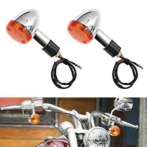 Amber Chrome Bullet Front Rear Turn Signals Blinker Indicators Lights for HONDA Kawasaki Suzuki Yamaha Motorcycle (2-Pack)