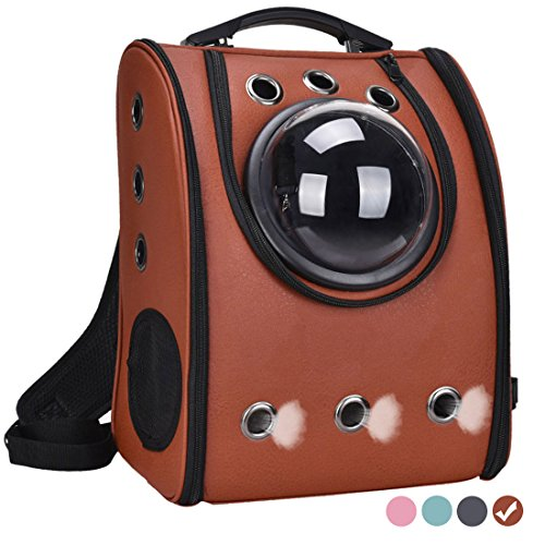 Pet Carrier Backpack Space Capsule Bag Airline Travel Approved for Cats and Dogs by Masvis(Brown)