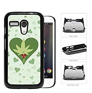 Weed Leaf Valentine And Green Hearts Hard Plastic Snap On Cell Phone Case Motorola Moto G