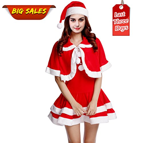 Woodland Plus Size Costumes (Women's Sweet Dress Miss Santa Suit Costume, Christmas Dress up Party Outfit)
