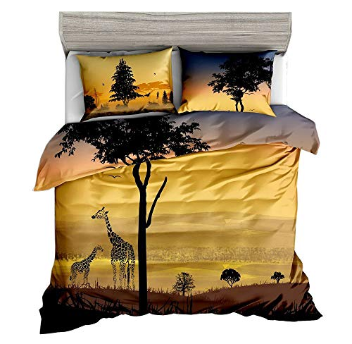 Jwellking Peaceful Animals Queen Size Bedding Set, Giraffes Under The Sunset Printed in Duvet Cover Set. 3pcs(1 Duvet Cover,2 Sunset Wild View Pillowcases),No Comforter Inside