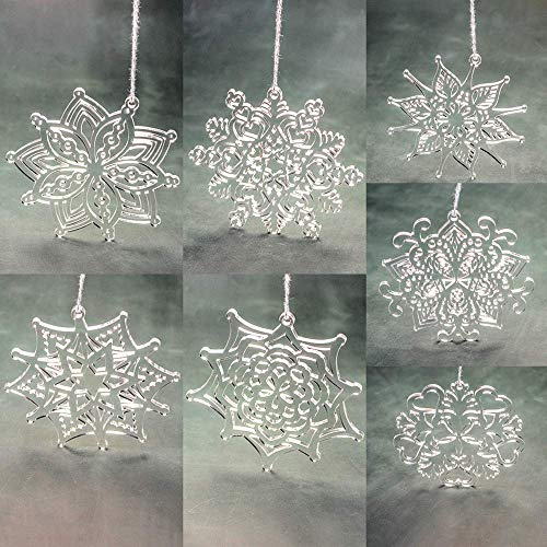 Set of Christmas Acrylic Snowflake Ornaments - Snowflake Decorations - Christmas Tree Decor - Clear Acrylic Snowflake - Laser Cut Ornament