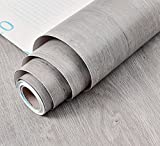 BESTERY Self-Adhesive Gray Wood Grain Furniture Stickers PVC Wallpaper Cabinets Wardrobe Contact Paper,24inch by 79in (Grey)