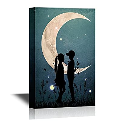 Love Romantic Silhouette of Boy and Girl Under The Crescent 16x24