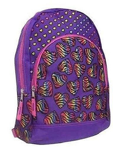 Childs Purple with Rainbow Hearts Backpack 15 Inch