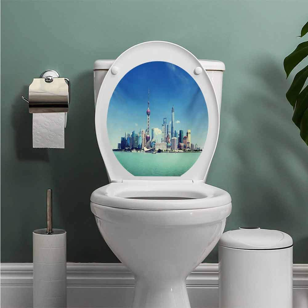 Auraise Heybee China Cityscape Stickers for Bathroom Washroom Seat Shanghai Skyline Pudong River Scene Skyscrapers Modern Image Toilet Seat Decals Cute Blue Mint Green Grey W12XL14 INCH by Auraise Heybee