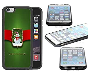 Merry Christmas Sign with Cute Snowman with Red Ribbon and Green Background iPhone 6 (4.7) INCH SCREEN Rubber Silicone TPU Cell Phone Case