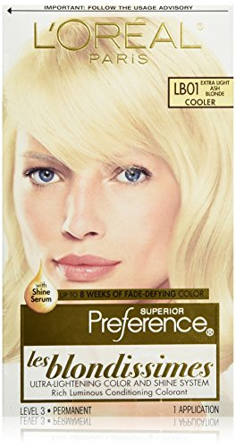 Hair Coloring System - L'Oréal Paris Superior Preference Fade-Defying + Shine Permanent Hair Color, LB01 Extra Light Ash Blonde, 1 kit Hair Dye