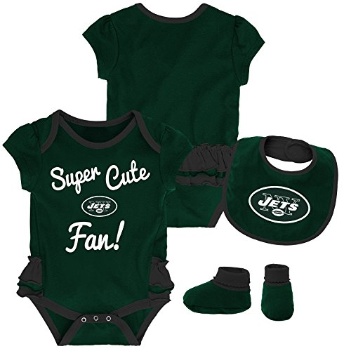 (Outerstuff NFL NFL New York Jets Newborn & Infant Mini Trifecta Bodysuit, Bib, and Bootie Set Hunter Green, 12 Months )