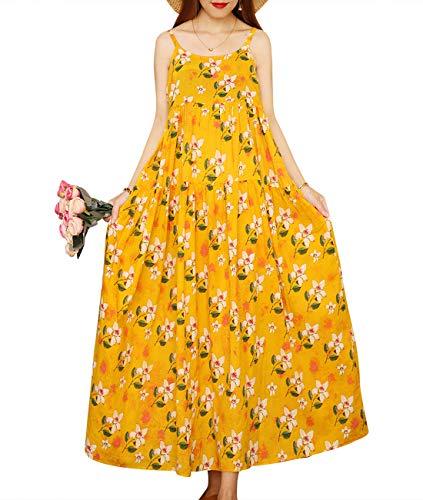 YESNO Women Casual Loose Bohemian Floral Print Empire Waist Spaghetti Strap Long Maxi Summer Beach Swing Dress E75 (M, E75 As Picture52) - Floral Print Jumper
