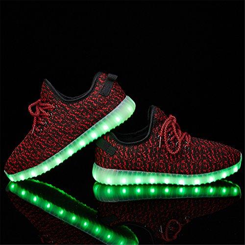 LEOVERA Herren & Damen LED-Schuhe USB Lade leuchten Schuhe blinkende Sneakers rot