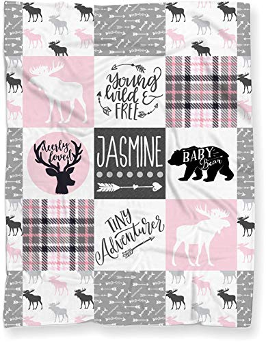 Personalized Baby Name Blanket for Nursery Crib Throw or Toddler Bed | Tribal Baby Woodland Theme Minky Blanket for Girl or Boy ()