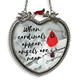 BANBERRY DESIGNS Memorial Cardinal Suncatcher When Cardinals Appear Angels are Near Saying Heart Shaped Glass Sun Catcher with Cardinals and Winter Scene