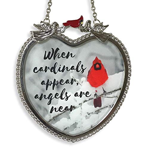 BANBERRY DESIGNS Memorial Cardinal Suncatcher - When Cardinals Appear Angels are Near Saying - Heart Shaped Glass Sun Catcher with Cardinals and Winter Scene from BANBERRY DESIGNS