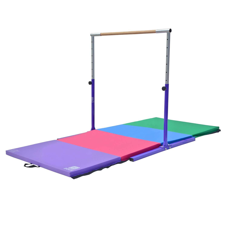 Modern-Depo Junior PRO Gymnastics Kip Bar w/ 10'x4'x2 Tumbling Folding Mat | Adjustable (3'- 5') Training Horizontal Bar Beech Wood - Purple