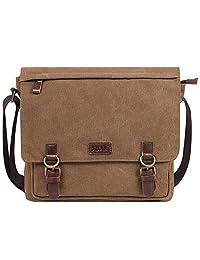 S-ZONE Vintage Canvas Messenger Bag School Shoulder Bag for 13.3-15inch Laptop Business Briefcase (Coffee)