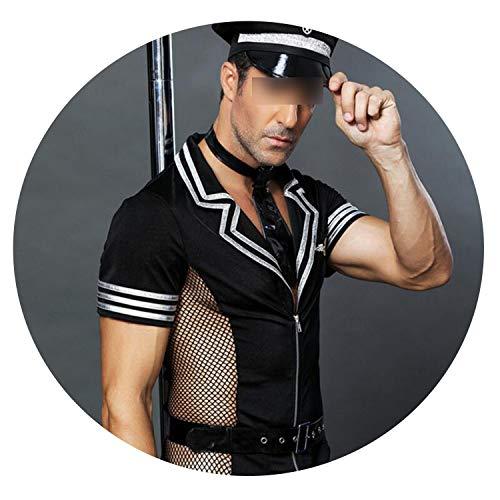 Heroic spirit Man Sexy Exotic Costume Halloween Costume Police Uniforms,Black,One Size ()