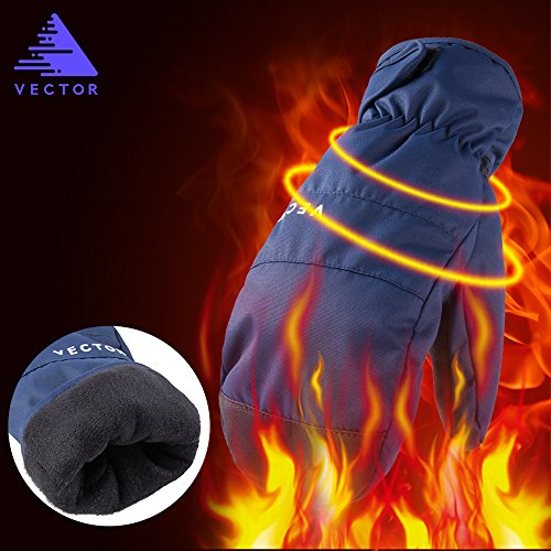 VECTOR Adult Winter Snow Ski Mittens Waterproof Thermal Insulated Snowboarding Ski Glove with Fleece Lining for Women Men Blue L