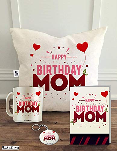 Buy ALDIVO Combo Pack Of Happy Birthday Mom Printed 12 X Inch Satin Cushion Cover With Filler Mug Key Ring And Greeting Card White Online At Low
