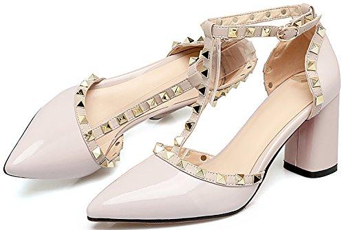 Buckle Heel Block Shoes Salsl Women Beige Pointed Calaier Sandals 7CM Toe Cx0YqXwR