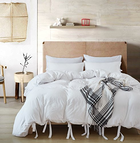 SANMADROLA Luxury Bow Duvet Cover Set With Solid Bowknot Ties Design 3 Piece Bedding Set WHITE TWIN