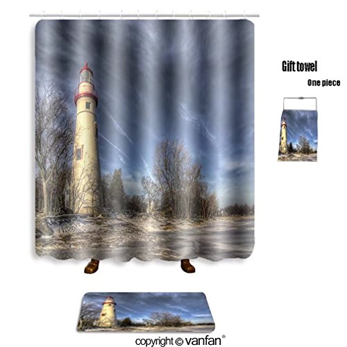 vanfan bath sets with Polyester rugs and shower curtain the historic marblehead lighthouse in northwe shower curtains sets bathroom 48 x 78 inches&23.6 x 15.7 inches(Free 1 towel and 12 ()