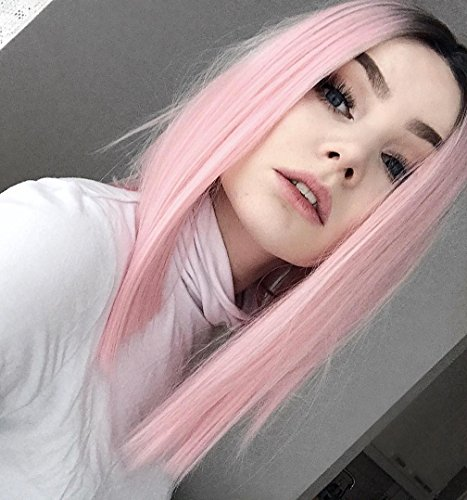 MISSWIG Bob Wig Pink Ombre Wigs Short Strai…