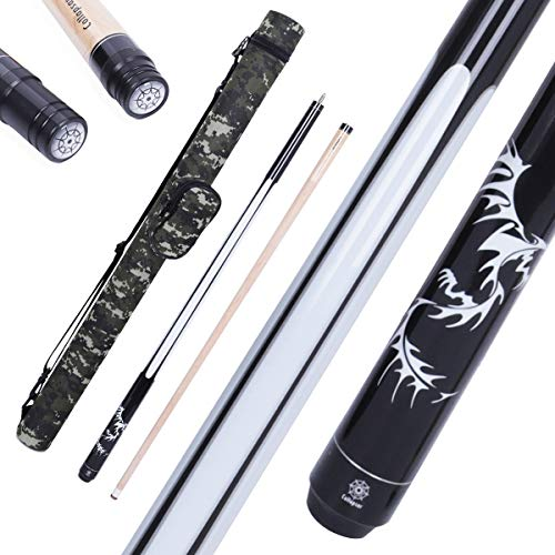 Collapsar 2- Piece Pool Stick + 1x1 Camo Hard Pool Cue Case, with 13mm Glued on Tip, Solid Canadian Maple Billiard Pool Cue Stick 19-21 Oz (CP1+Joint Protector+Cue Case, 20 Ounce)