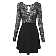 Kancystore Women's V Neck Long and Short Sleeve Lace Floral Open Back Skater Pleated Cocktail Wedding Party Dress