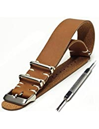 20mm Genuine Leather Vintage Style NATO Watch Strap with Stainless Hardware plus FREE Spring Bar Tool (Brown)