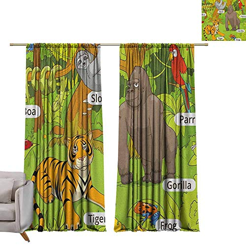 - Blackout Bedroom Curtain Educational,Jungle Animals Colorful Funny Hand Drawn Style Zoo Nature Tropical Wildlife, Multicolor W72 x L84 Grommet Drapes