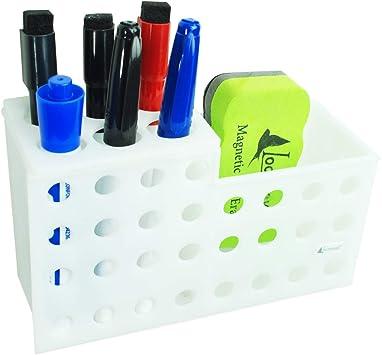 White Magnetic Marker Holder for Glass Whiteboards,Magnetic Dry Eraser Organizer