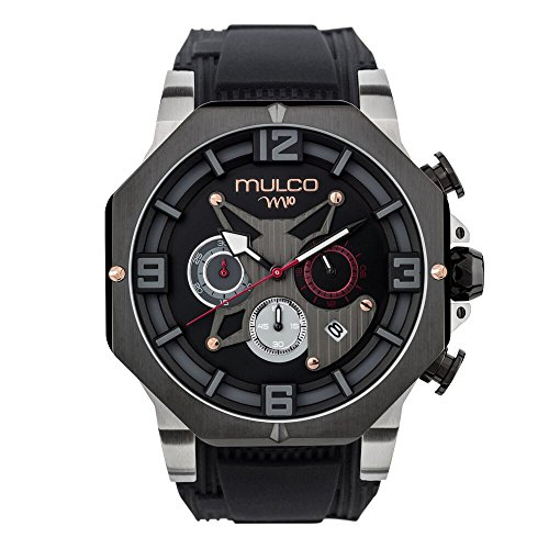 Mulco M10 105 Gent Quartz Chronograph Movement Men's Watch | Premium Analog Display with Rose Gold Accents | Black Watch Band | Water Resistant Stainless Steel Watch | MW5-5190-026