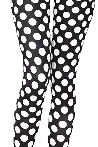 (Sister Amy Women's High Waist Geometric Printed Ankle Elastic Tights Leggings White Dots US 0-12 )