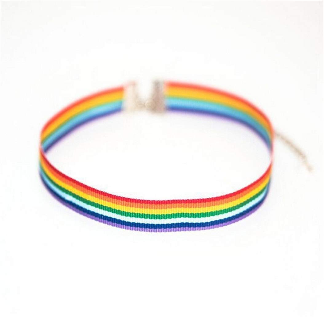 Rainbow Choker Necklace Pride WoCoo Clavicle Chain Ribbon Simple Necklace(Colorful)