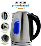 Kitchen & Housewares : Ovente 1.7 Liter BPA-Free Stainless Steel Cordless Electric Kettle, 1100-Watts, Auto Shut-Off and Boil-Dry Protection, Matte Black Cool-Touch Handle, Nickel Brushed (KS96S)