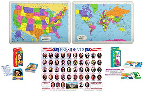 Laminated Educational Placemats for Kids: US Presidents, USA Map, World Map with Pocket Flash Cards: US States and Capitals, United States Presidents | Set of 5 Items (American President Flash Cards)