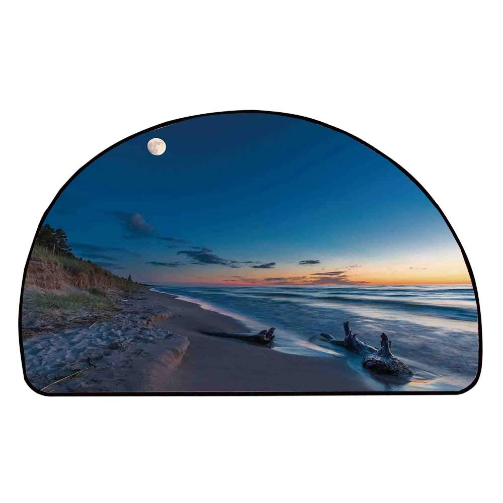 C COABALLA Driftwood Decor Comfortable Semicircle Mat,Nature Theme Driftwood on a Lake and The Moon in The Sky Digital Image for Living Room,11.8'' H x 23.6'' L