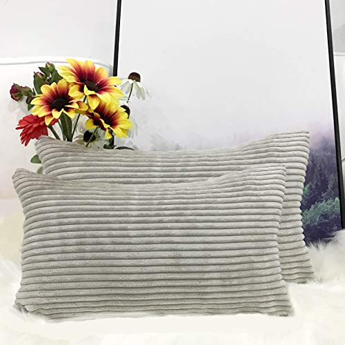 Miaote Pack of 2 Decorative Throw Pillow Covers Cases for Couch Bed Sofa,Striped Corduroy Velvet Cushion Covers for Baby,16 X 24 Inches,Light Grey