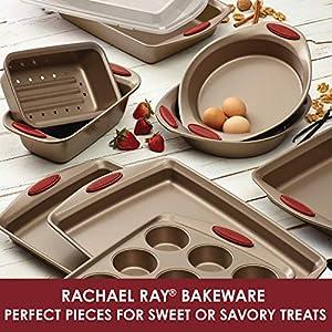 Rachael Ray 52410 Cucina Nonstick Bakeware Set with Baking Pans, Baking Sheets, Cookie Sheets, Cake Pan, Muffin Pan and…