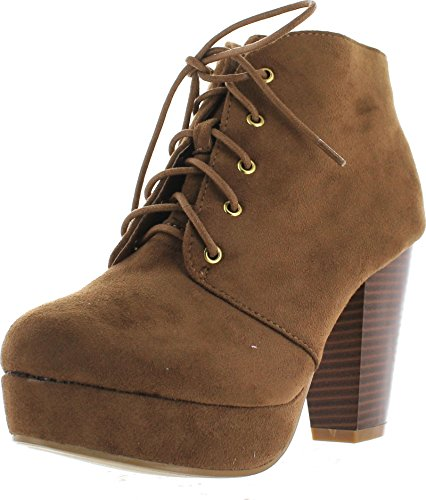 Forever Camille-86 Women's Comfort Stacked Chunky Heel Lace Up Ankle Booties,Tan,10 (86)